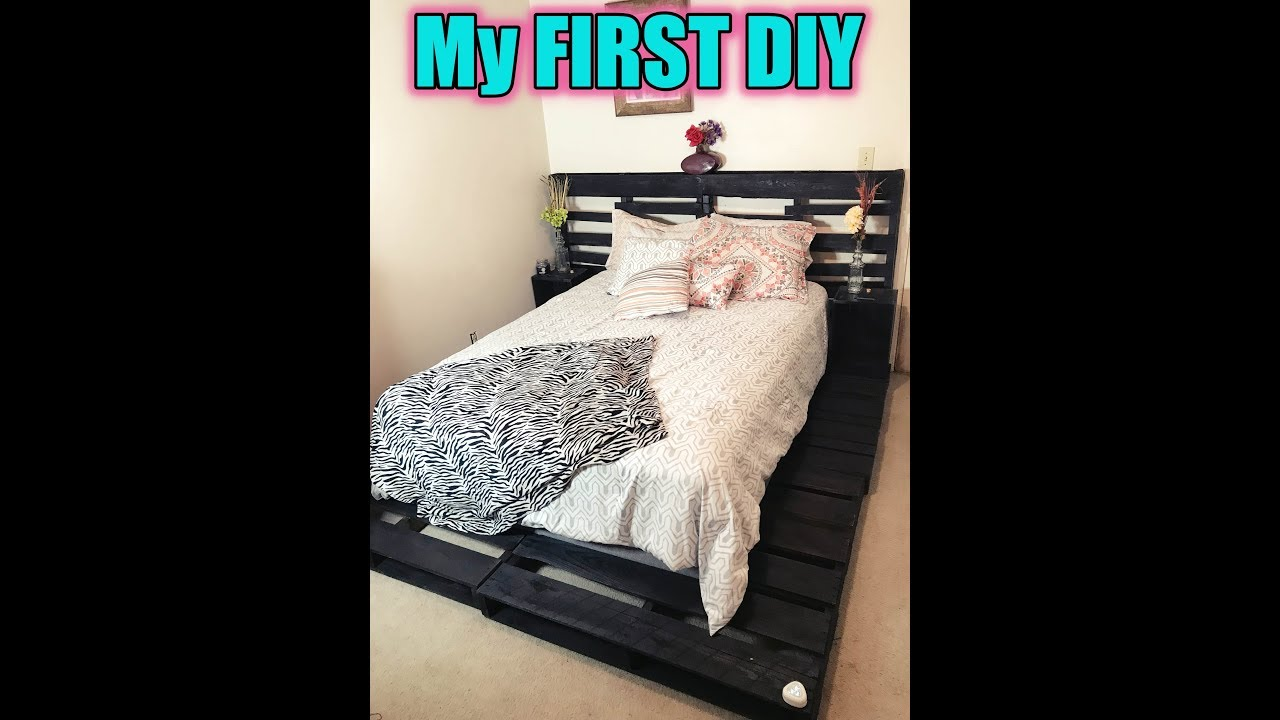 DIY (SUPER EASY) Pallet Bed!! {With LED Foot Light} - YouTube