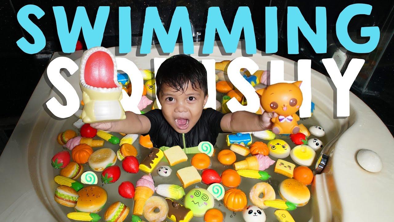 Squishy Gen Halilintar : Squishy Dare! Swimming With Squishy!! - Mandi Squishy Qahtan Halilintar - YouTube