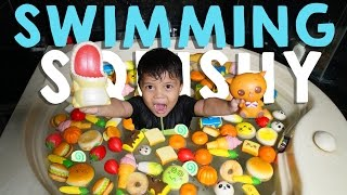 Squishy Dare! Swimming With Squishy!! - Mandi Squishy | Qahtan Halilintar