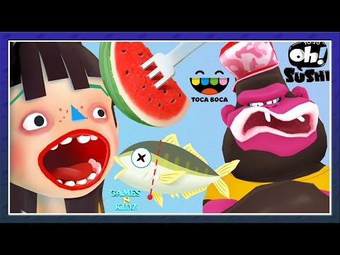 Toca Boca Kitchen 2 Vs TO-FU Oh!SUSHI - Cook Yucky Food Children's Apps-  Cooking Games For  Kids