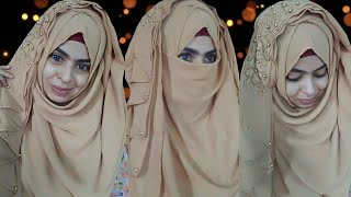 (Ramadan special) chest n back coverage hijab tutorial for round face||safrin prity