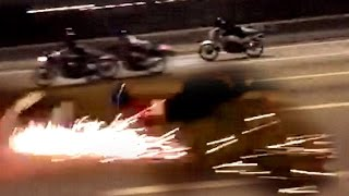 """200KPH Two-Stroke Motorcycle turns into a FIREWORKS !!! - """"ride safe always"""""""