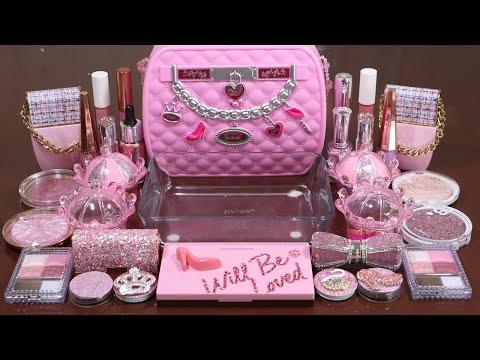 'PinkMakeupBox' Mixing'Pink'Eyeshadow,Makeup And Glitter Into Slime!Satisfying Slime Video!★ASMR★