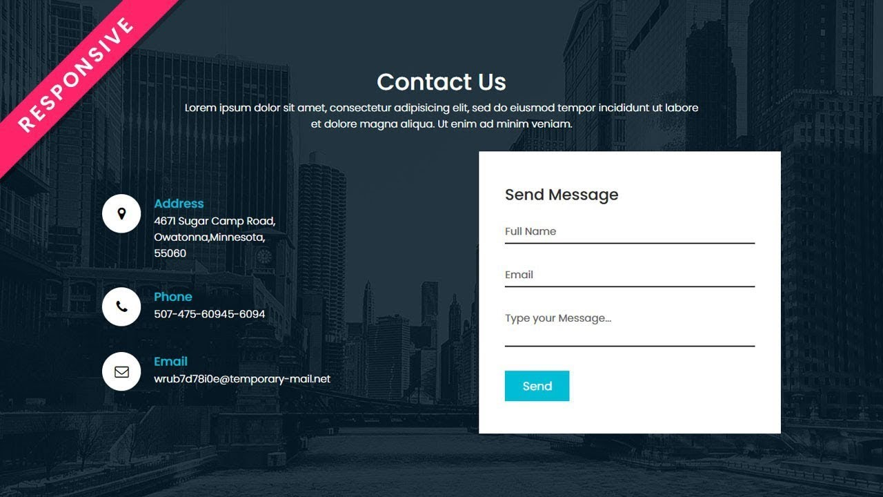 Responsive Contact Us Page Design using Html CSS | HTML Responsive Web Page Design