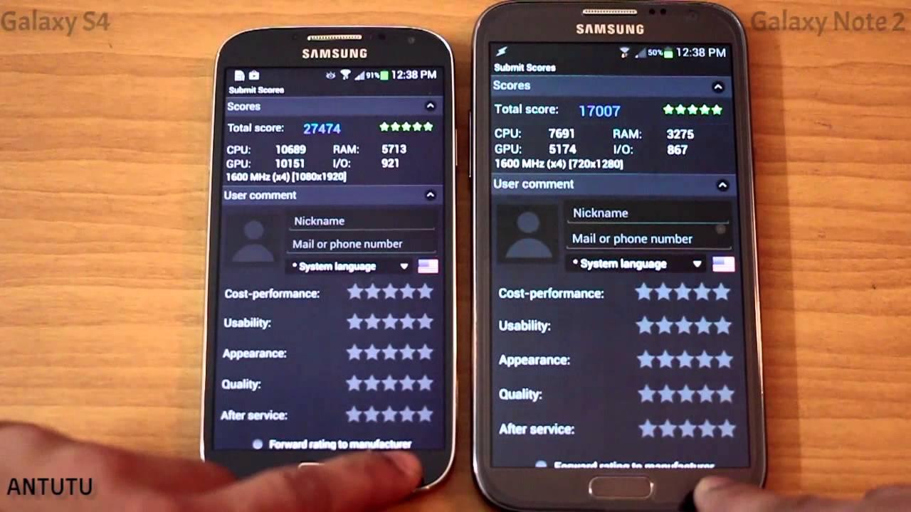 Samsung Galaxy S4 Benchmark -- Quadrant and Antutu -- vs ...