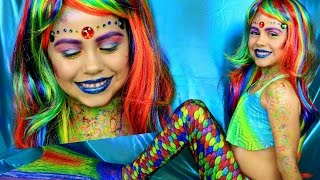 Rainbow Mermaid Costume and Makeup Tutorial