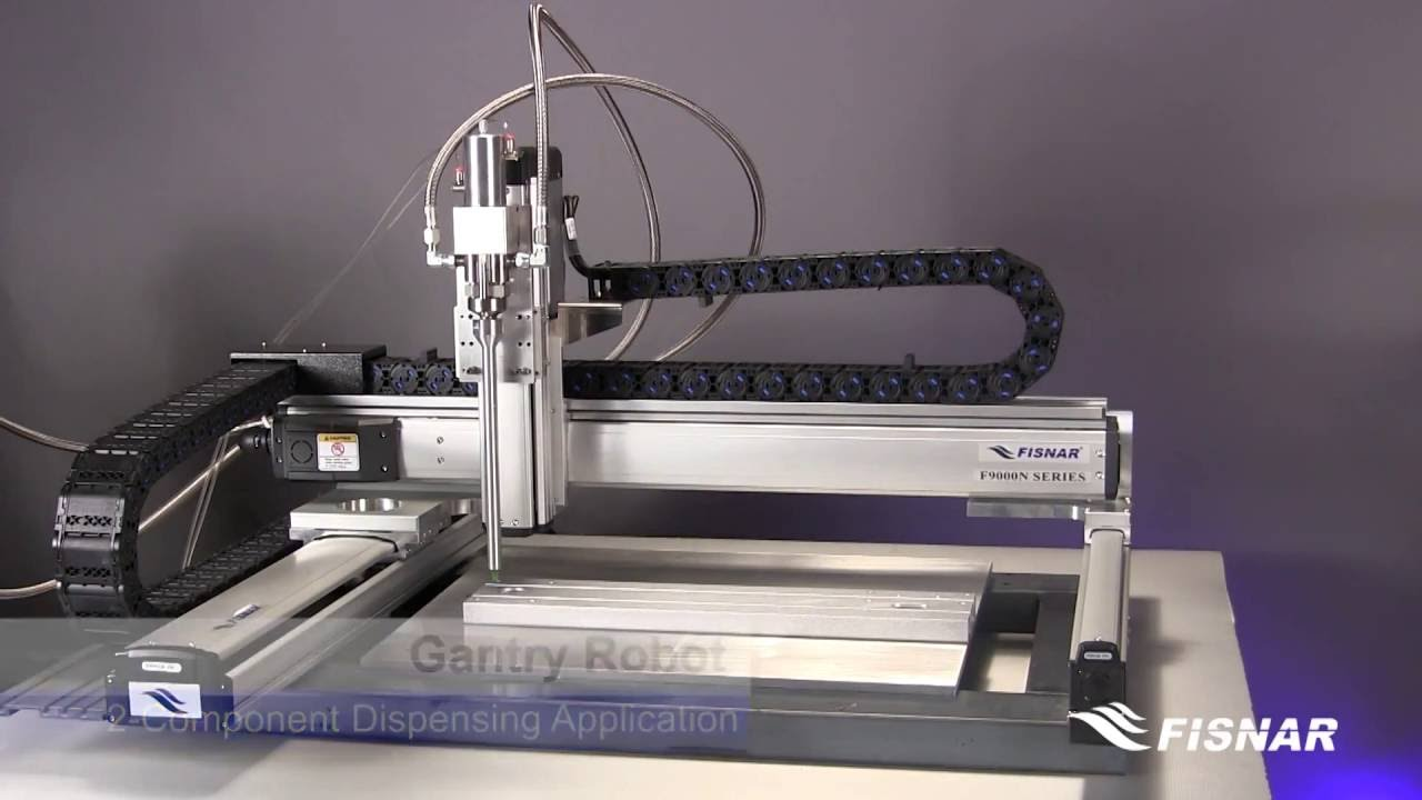 Two component dispensing application suitable for large area gantry robot
