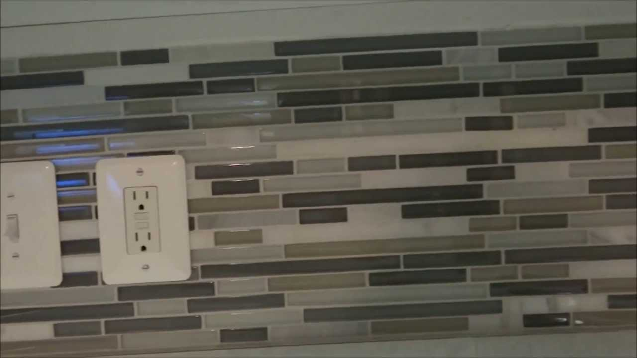 Detailed how to diy backsplash tile installation youtube How to put tile on wall in the kitchen