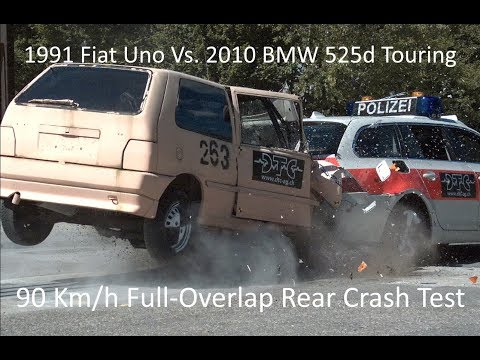1991 Fiat Uno Into 2010 BMW 525d Touring (E61) Full-Overlap Rear Crash Test