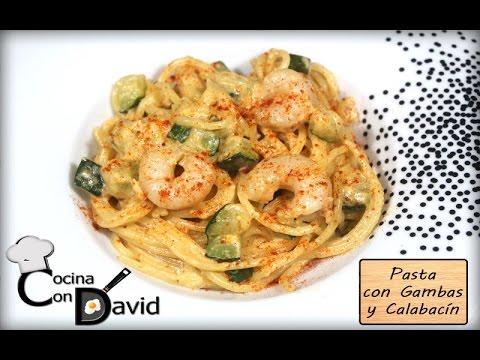 Pasta Con Gambas Y Calabacin Receta Youtube