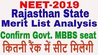 Rajasthan state merit list || Confirm MBBS seat analysis || category wise seat allotment, counseling
