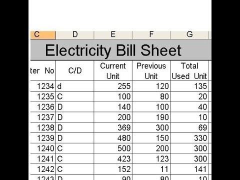 How to Create electricity bill sheet in Ms Excel? - Lunar Computer - bill calculator spreadsheet