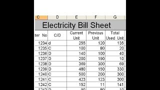 1:12 structure of electricity bill sheet 3:43 adding data in 4:13 formula total used unit 5:00 how to get...