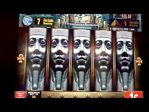 Eyes of the Pharoh slot bonus with retrigger & feature