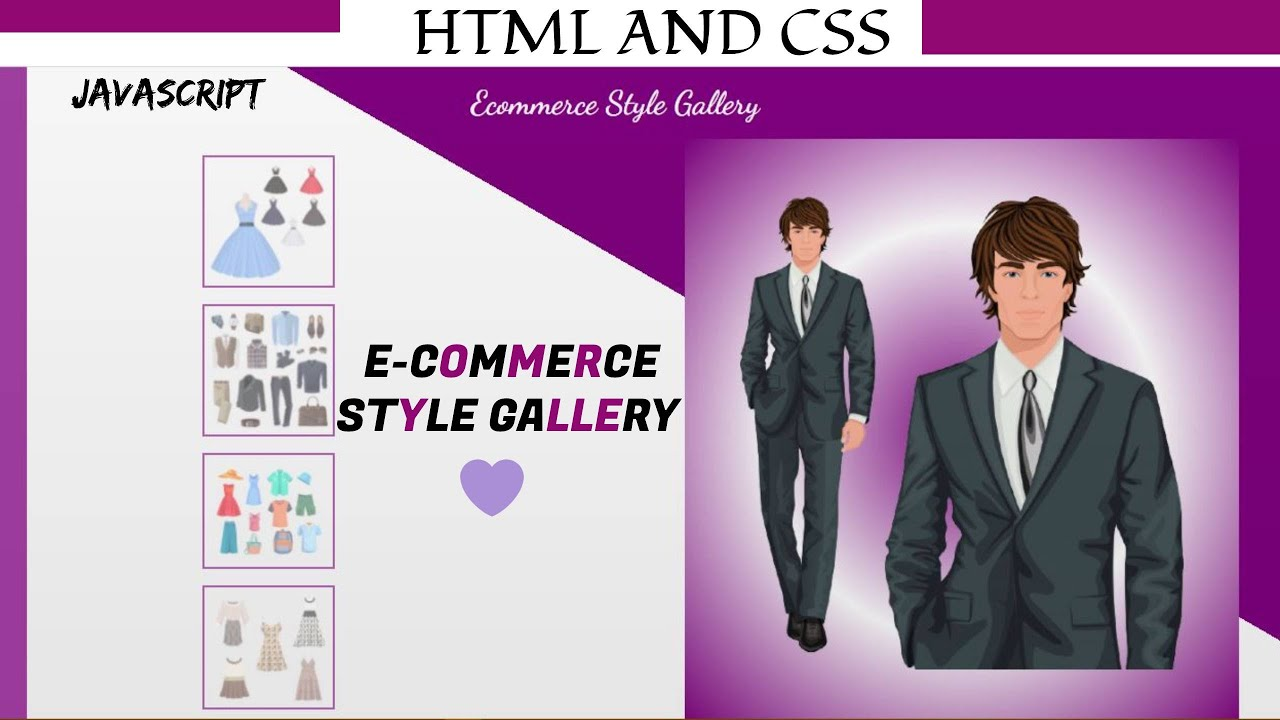 How to create E-Commerce style Gallery using HTML , CSS and JavaScript.