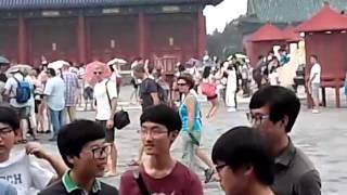 Korea male high school students in Beijing, China played  shuttlecock game jegichagi)