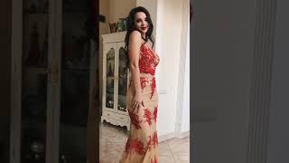G 0829 Вечернее платье в виде топа на тонкихбретелях и юбки video