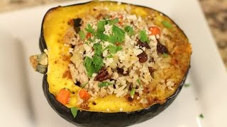Stuffed Acorn Squash Recipe With Turkey, Raisins, & Pecans By Rockin Robin