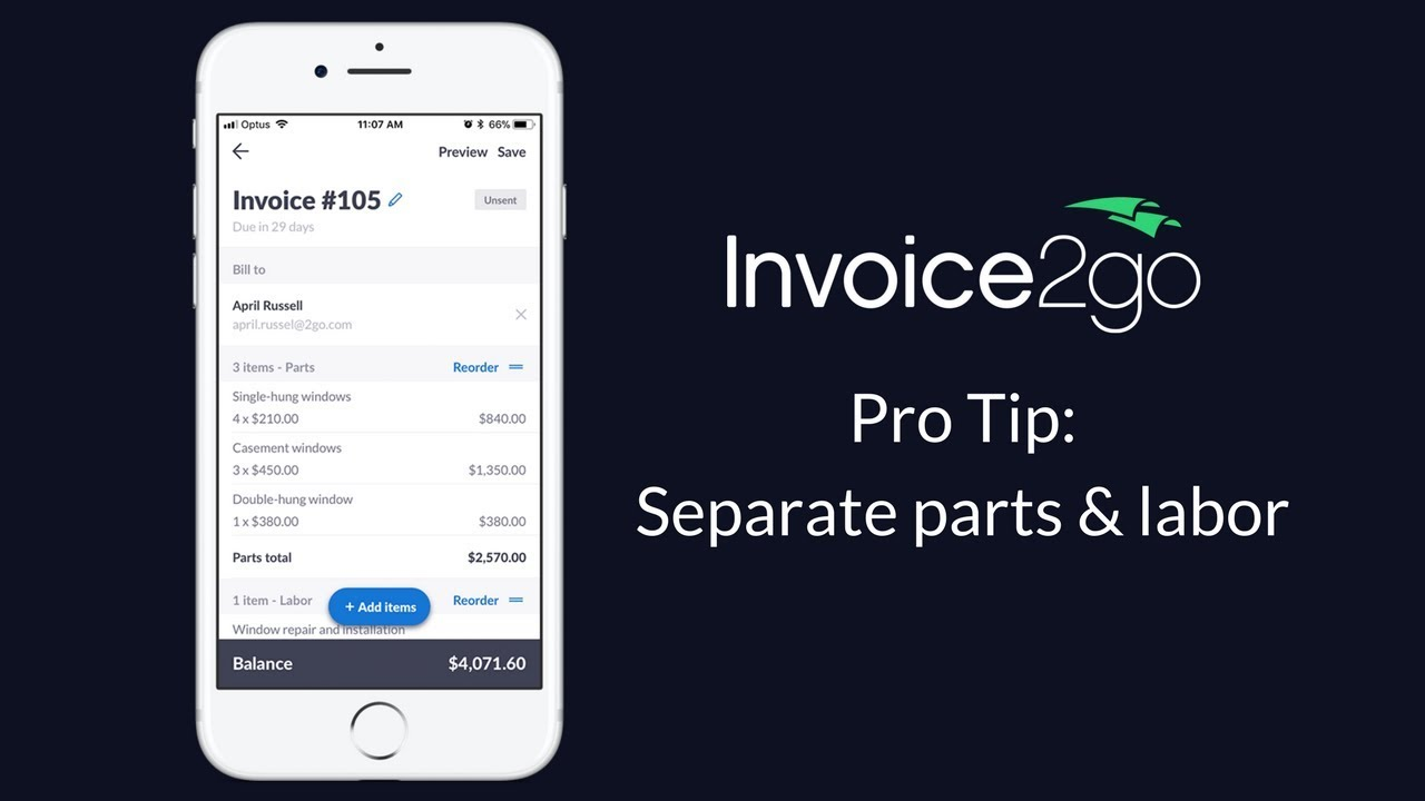 Invoice2go Pro Tip  How to separate parts and labor on your invoice     Invoice2go Pro Tip  How to separate parts and labor on your invoice
