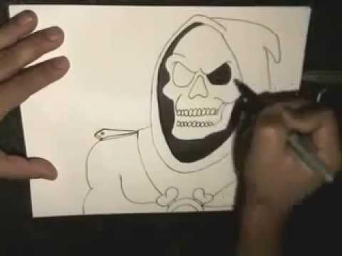 طريقة رسم جمجمة بالقلم حبر Youtube