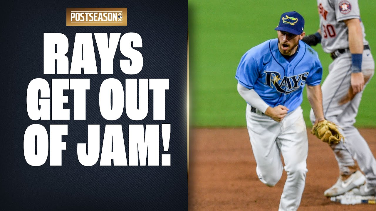 Rays' Diego Castillo gets out of jam with HUGE double play in 8th inning to preserve lead!