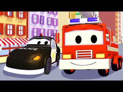 Трактор, Поезд, Бульдозер и Авто Патруль: пожарная машина и полицейская машина | мультик для детей