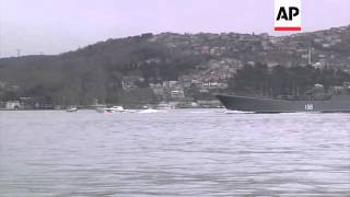 Two Russian warships pass through Bosphorus, likely en route to Crimean peninsula