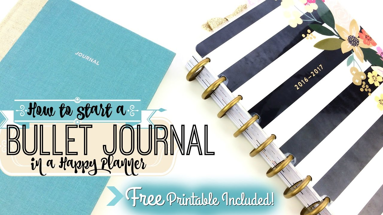 free printable how to start a bullet journal in a happy planner diy youtube. Black Bedroom Furniture Sets. Home Design Ideas