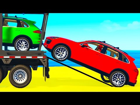 Thumbnail: COLOR SUV CARS Transportation for Kids in Spiderman Cartoon w Colors for Toddlers Nursery Rhymes