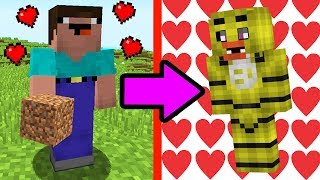 NOOB VS MINECRAFT - O NOOB BEIJOU A ANIMATRONIC CHICA! (FIVE NIGHTS AT FREDDY