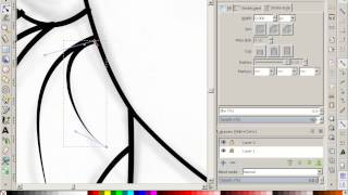 Inkscape inking a drawing example