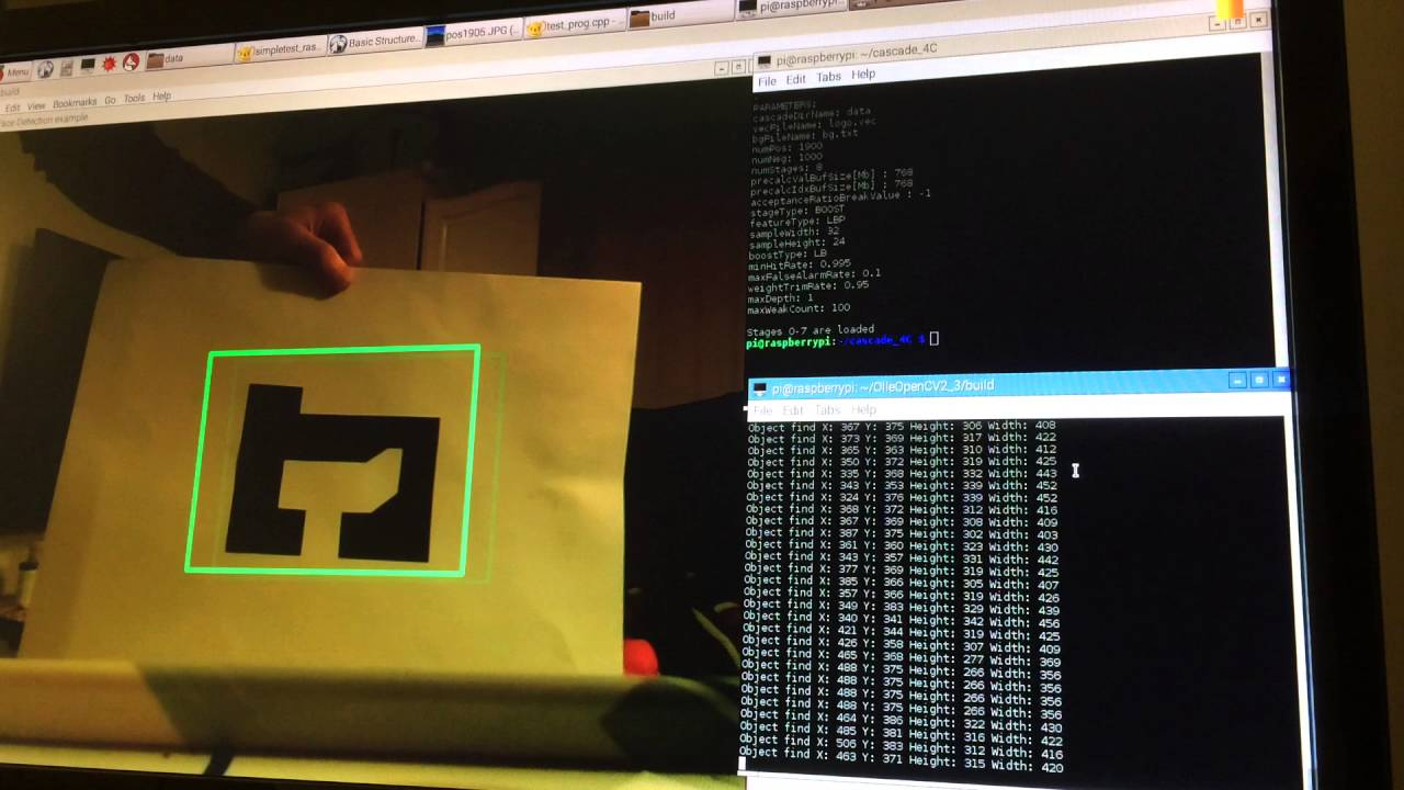 Raspberry pi OpenCV C++ Tracking object Trained Cascade Tutorial Updated  with github souces code