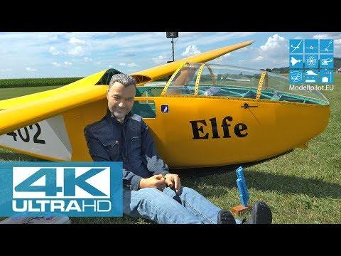[4K] XXXL RC ELFE P2 100% M 1:1 FULL SCALE GLIDER PATRICK TRAUFFER AIRSHOW FLIGHT INTERVIEW