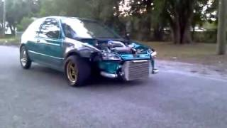 Crazy civic 3rd gear burnout k20