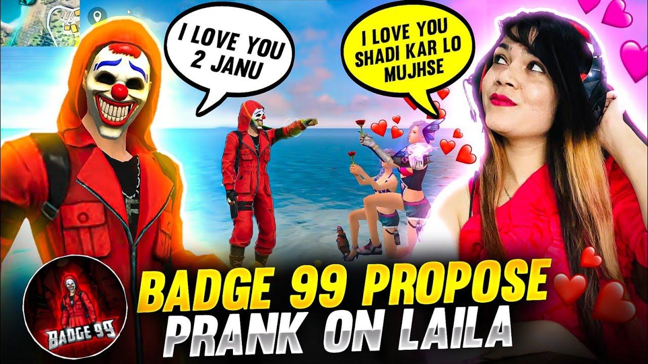 Badge99 Proposing Bindass Laila || Propose Prank On Laila || Badge99 || Garena Free Fire #shorts