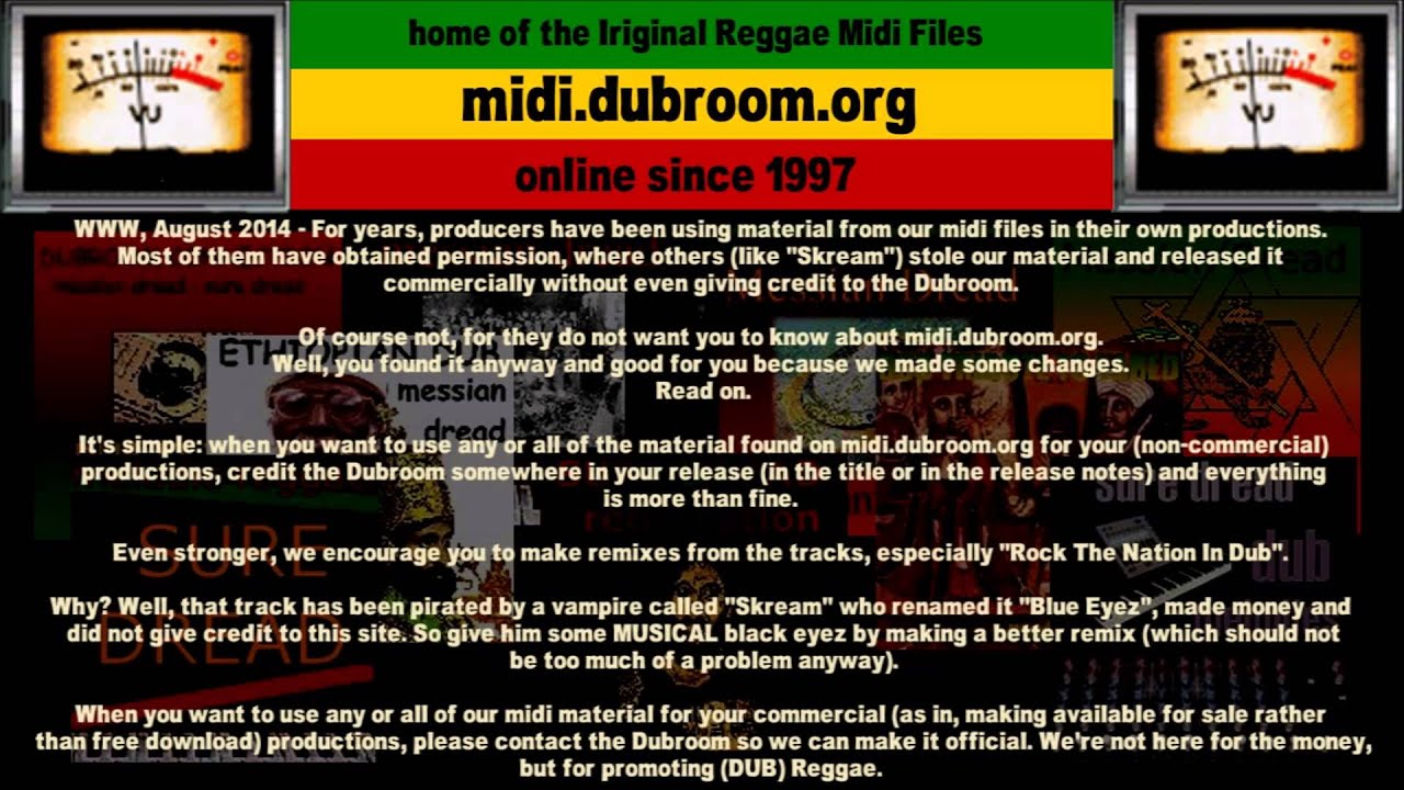Home of the Iriginal Reggae MIDI Files - Dubroom - Promoting