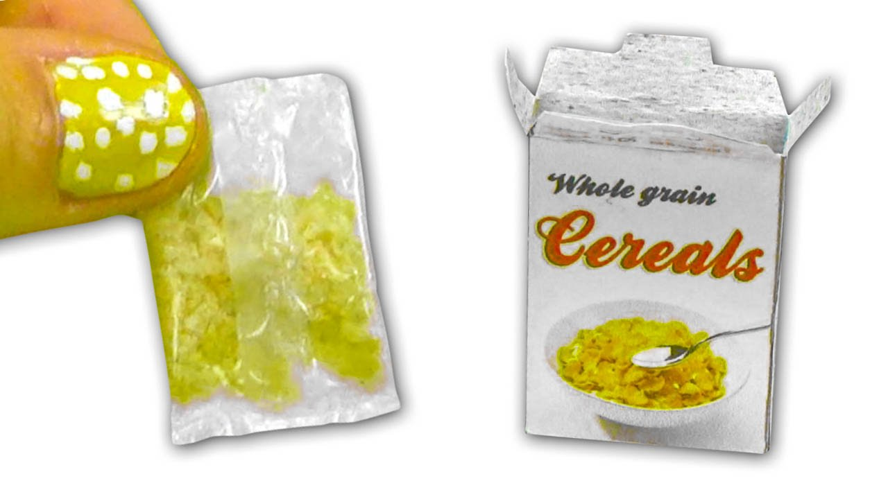 Miniature edible Cereals, bag and box DIY Tutorial - YolandaMeow ...