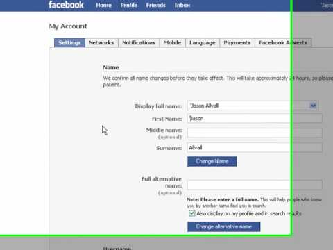 how to change your name in facebook chat