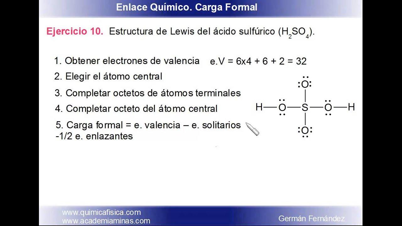 Estructura De Lewis Y Carga Formal Para El ácido Sulfúrico H2so4