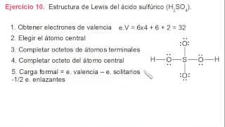 Estructura de Lewis y carga formal para el ácido sulfúrico (H2SO4)