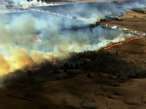 Raw: Firefighters Battle Oklahoma Grass Fires