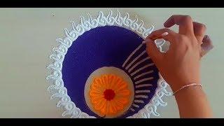 How to make simple and beautiful rangoli design | easy rangoli by Yogita Garud