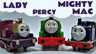 mighty mac lady and percy on thomas the tank engine track thomas friends kids toy train set