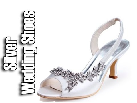 Silver Wedding Shoes | Low Heel Wedding Shoes - YouTube