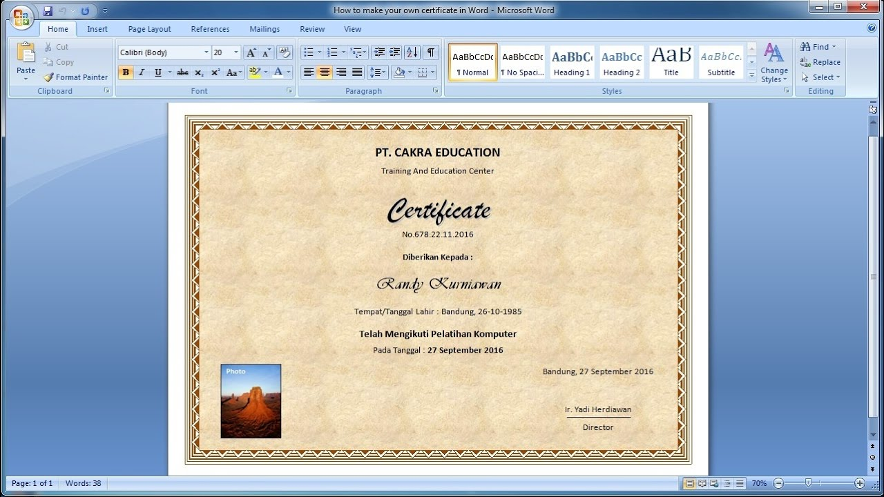 How to make your own certificate in WordLearn ms word easily YouTube