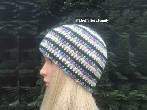 How To Crochet A Multicolor Striped Beanie Hat Pattern 509by