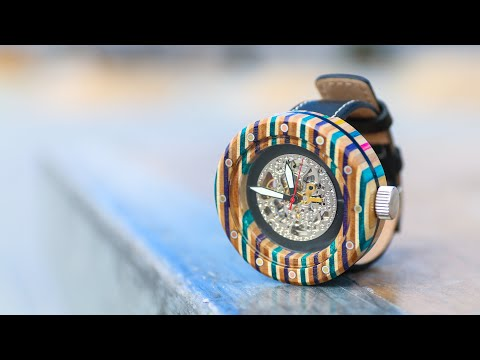 I Made A Watch From Broken Skateboards | Woodworking