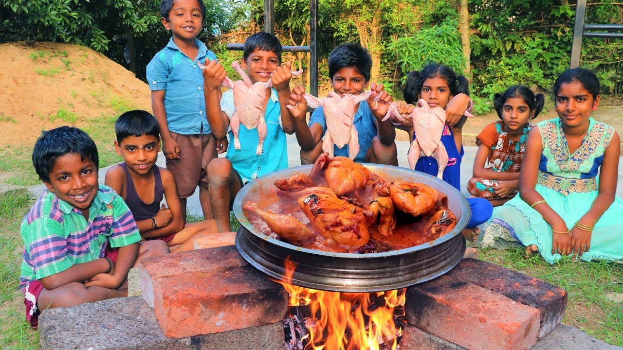 3 FULL CHICKEN EATING | Whole Chicken Cooking and Eating | Full Chicken Gravy | Village Fun Cooking