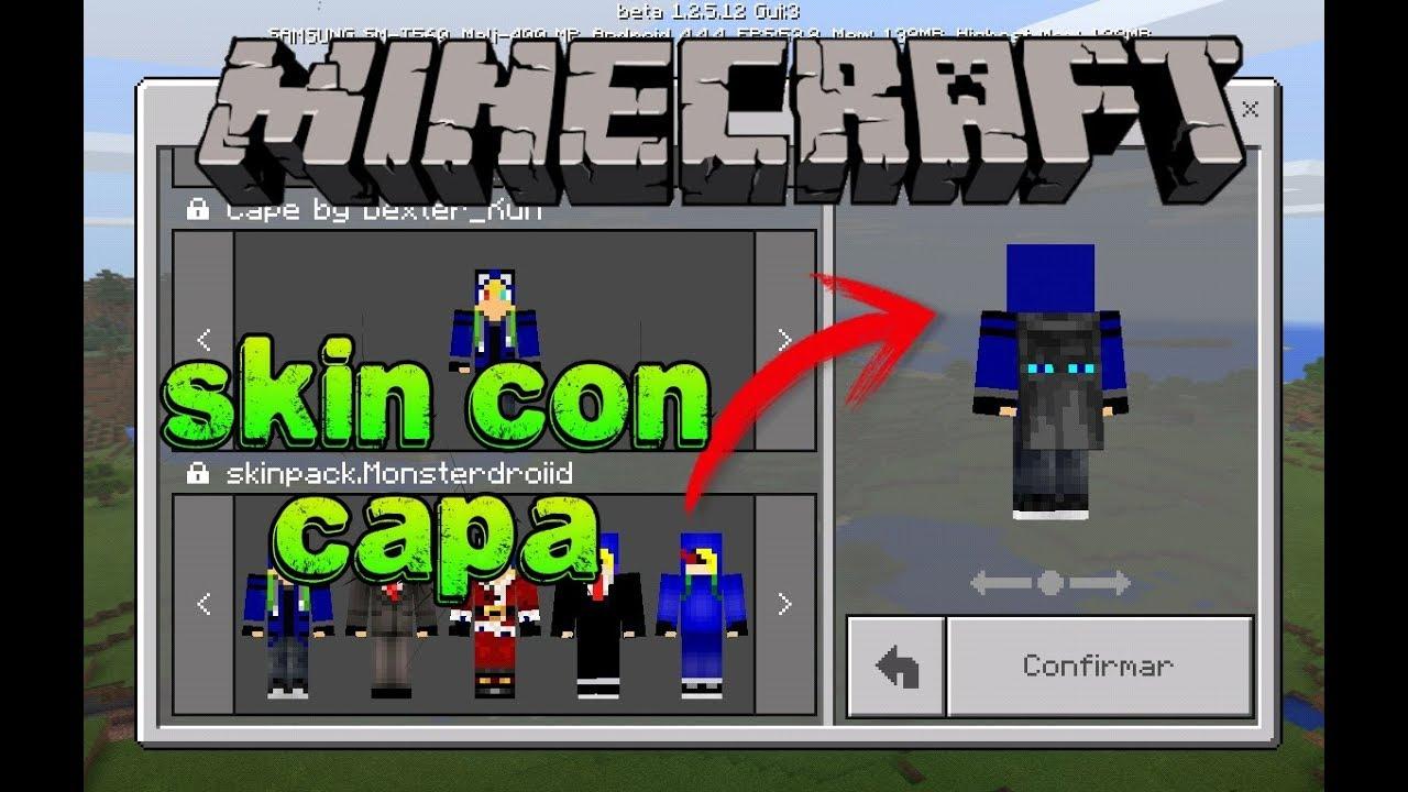Como Tener Skin Con Capa Para Minecraft YouTube - Skins para minecraft pe con capa