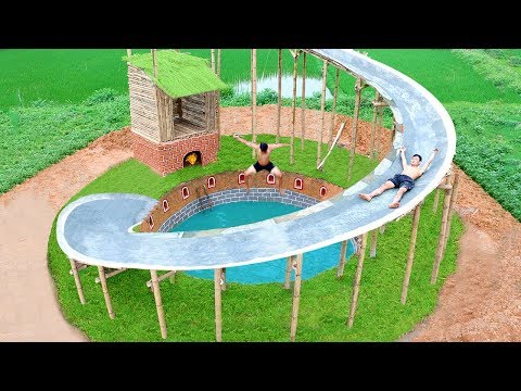 Building Secret Underground House And Water Slide Around Underground Swimming Pool